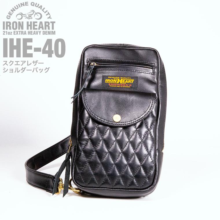 【 IHE-40 】  スクエアレザーショルダーバッグ