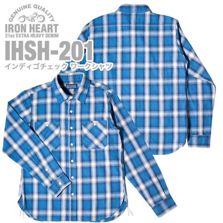 【 IHSH-201 】インディゴチェック ワークシャツ