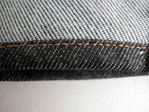 本縫い(シングルステッチ)裏からみたところ