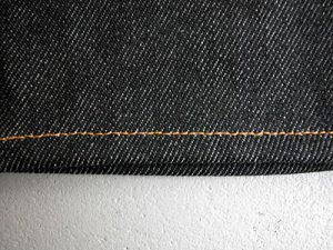 本縫い(シングルステッチ)表からみたところ